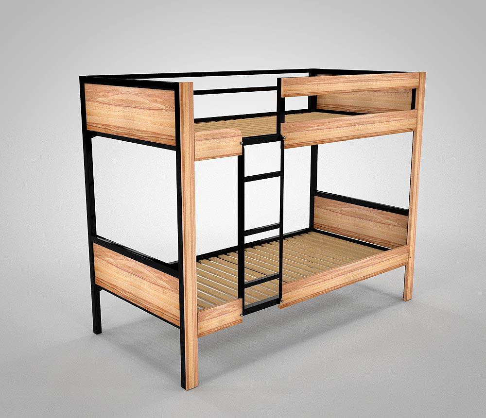 Etagenbett aus Metall BODO mit Holzverkleidung BUCHE