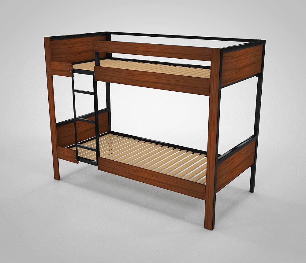 Etagenbett aus Metall BODO mit dunkler Holzverkleidung