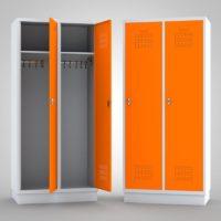 Kleiderschrank Metallspind weiß-Orange