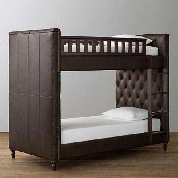 Luxus Etagenbett aus Holz und Leder