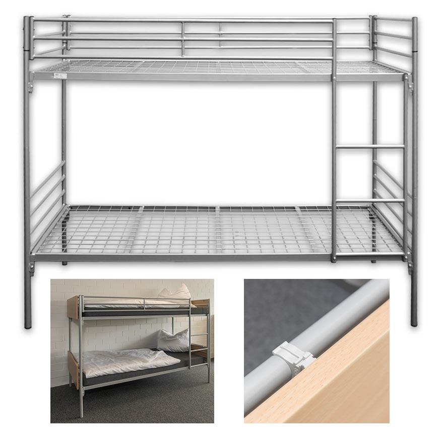 Metall-Etagenbett-Doppelstockbett ERIK mit Holzverkleidung