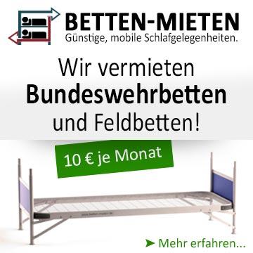 Wir vermieten Bundeswehrbetten und Feldbetten