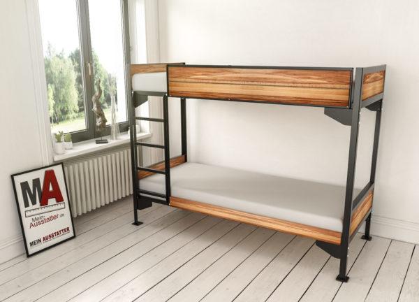 Metall Etagenbett KARL mit Holzverkleidung