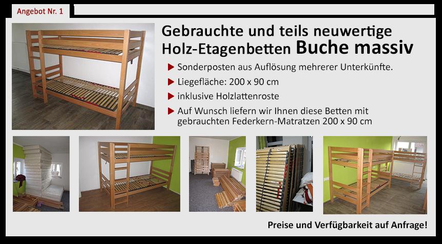 Gebrauchte und teils neuwertige Holz-Etagenbetten Buche massiv