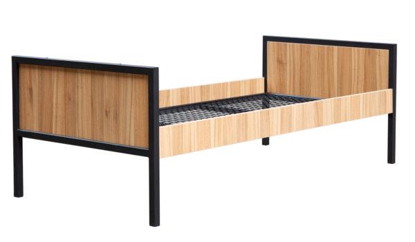 Einzelbett ALEX Metallbett mit Holzverkleidung