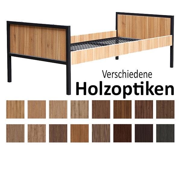 Einzelbett-Metallbett ALEX mit Holzverkleidung