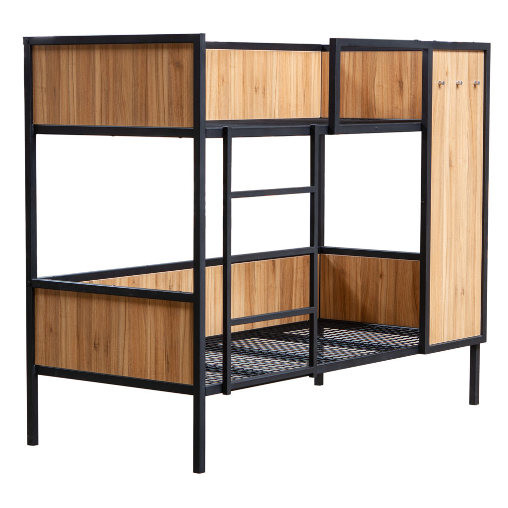 Etagenbett ALEX aus Metall mit Holzverkleidung
