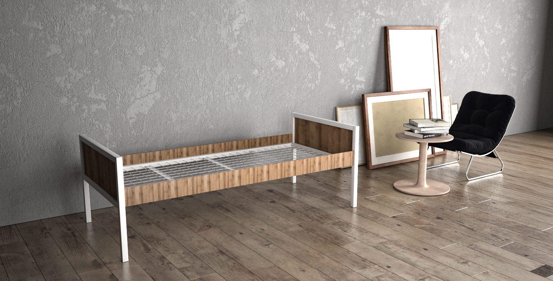 Einzelbett ALEX aus Metall mit Holzverkleidung