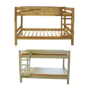 Holz-Etagenbett Kiefer hell und Kiefer weiß